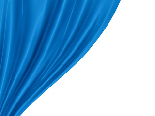 render of blue curtain, isolated on white