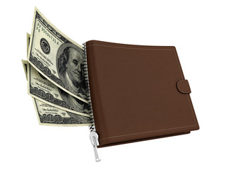 render of a brown leather wallet with dollars