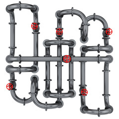 render of pipes with red valves