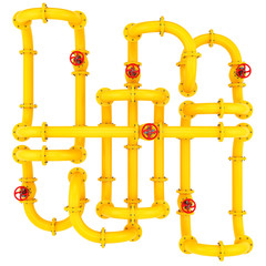 render of yellow pipes with valves