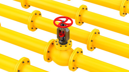 render of yellow pipes with a red valve