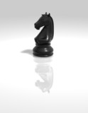 chess horse black figurine isolated illustration