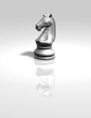 chess horse white figurine isolated illustration