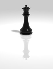 black chess queen figurine isolated