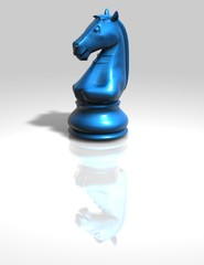 blue chess horse figurine isolated illustration