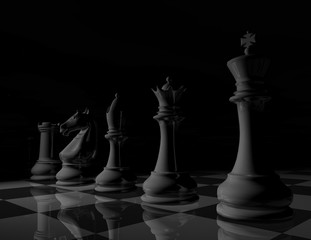 black and white surreal chess background illustration