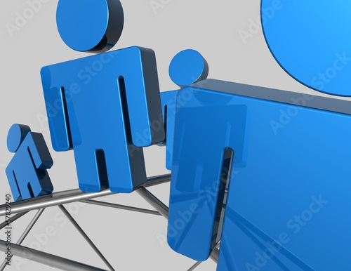 network concept blue 3d illustration  background
