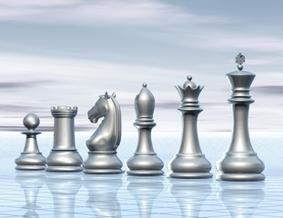 light abstract surreal background with chess figurines