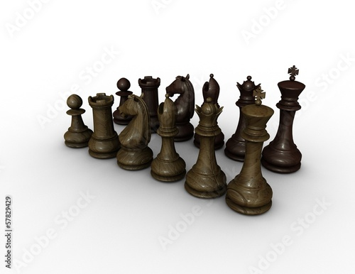 chess wood figurines illustration