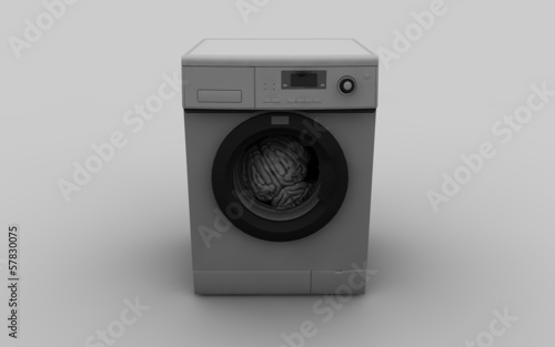 brain wash concept with washing machine 3d illustration