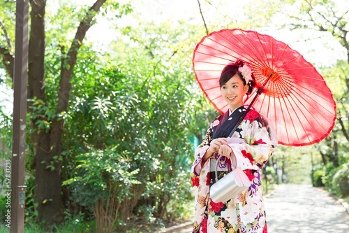 Beautiful asian kimono woman