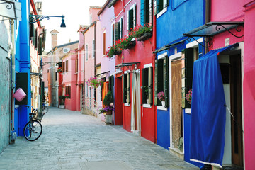 Colorful buildings in Burano island street, Venice