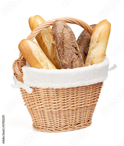 In de dag Brood Various of french baguette basket