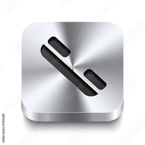 Square metal button perspektive - telephone receiver icon