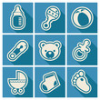 Set of blue baby shower icons