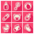 Set of pink baby shower icons