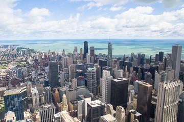 lake michigan panorama from chicago tower
