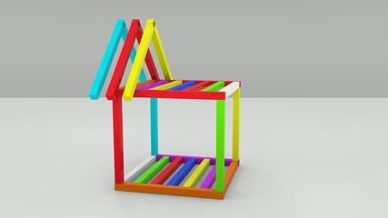 Blockhaus bunt