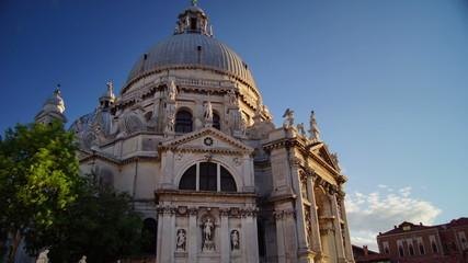 Venice city in Italy, Santa Maria della Salute, pan, time lapse