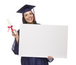 Female Graduate in Cap and Gown Holding Blank Sign, Diploma