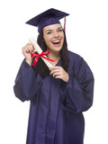 Mixed Race Graduate in Cap and Gown Holding Her Diploma.