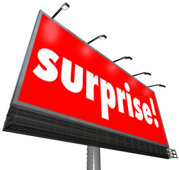 Surprise Red Billboard Banner Advertisement Shocking Discovery