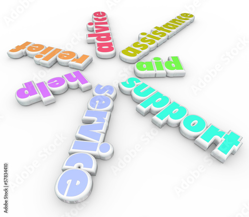 Support Service Help 3D sprial Pattern Words