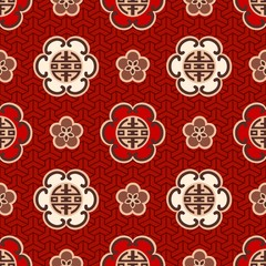 "seamless chinese ""shou"" character traditional pattern"