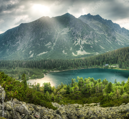 mountain landscape with pond
