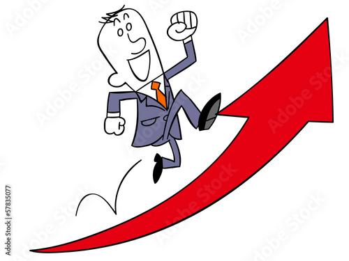上昇する矢印の上を駆け上がるビジネスマン