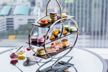 A afternoon tea set consisting of a collection of pastries