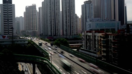 Heavy traffic and flyover in Shenzhen,China
