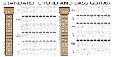 standard chord and bass guitar