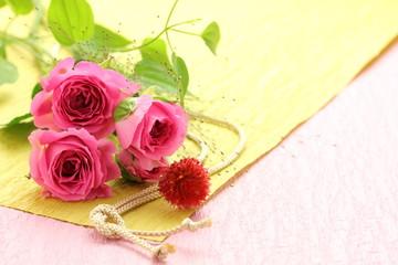 薔薇と和紙