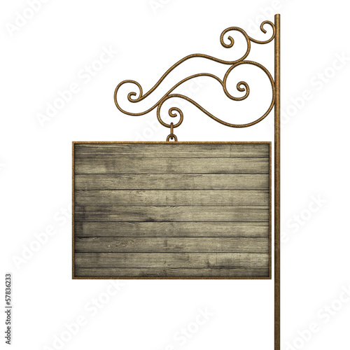 Old signboard. Isolated on white