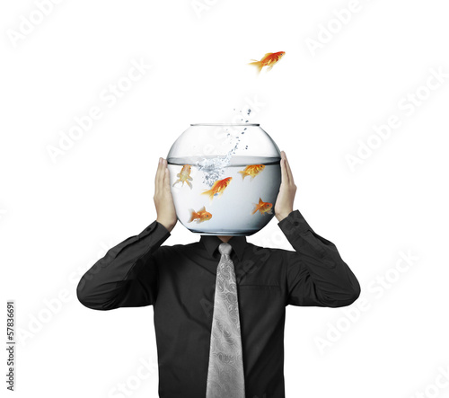 Business man flying goldfishes