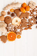 Christmas homemade gingerbread cookies,spice and decoration over