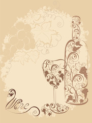 Stylized wine bottle and wine glass