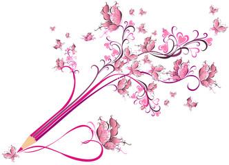 Creative pencil whit floral ornate. Art concept