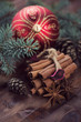 Christmas time: spices, fir-tree branches and xmas ball