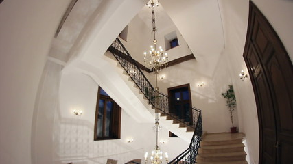 Wrought iron staircase.Vintage house.