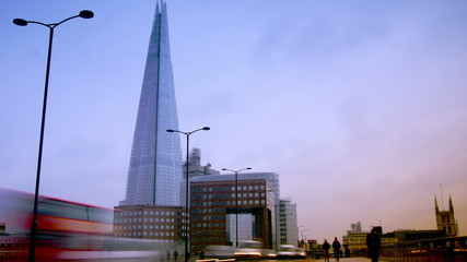 View of Shard from London Bridge, time lapse