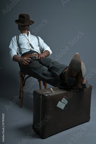 Sleeping retro afro america western cowboy man with mustache. Si