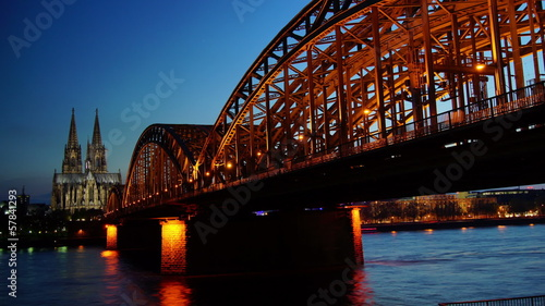Germany Cologne Cathedral and bridge in sunset,time lapse