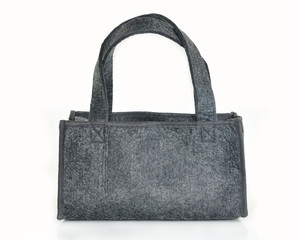 The gray bag on a white background.