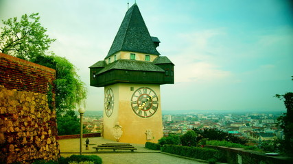 City clock Uhrturm tower in Graz