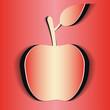 красное яблоко на красном фоне