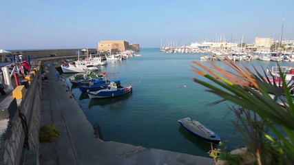 Panorama of the port and fishing boats