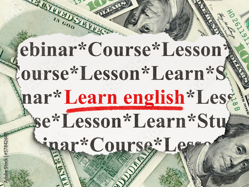 Education concept: Learn English on Money background