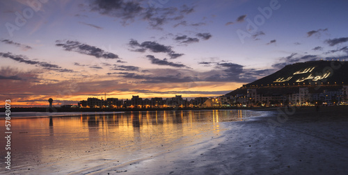 Foto op Plexiglas Marokko Sunset on the beach in Agadir, Morocco